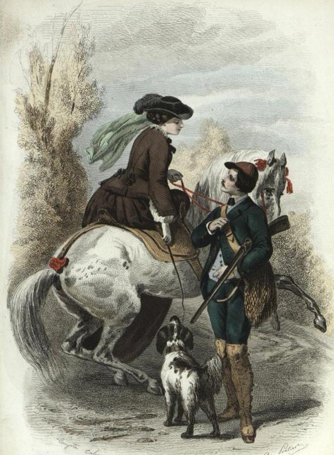 Модный дамский костюм и модный мужской костюм. Лист из журнала « Les Modes Parisiennes ». 1853 г.