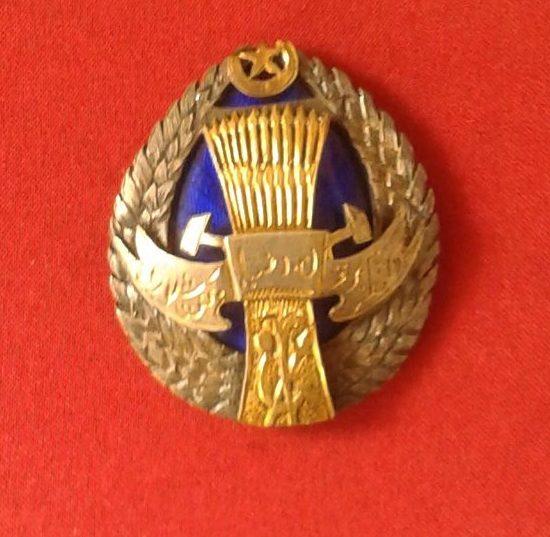 Орден Труда Хорезмской народной Советской республики. 1922 г. Серебро, эмаль, золочение.