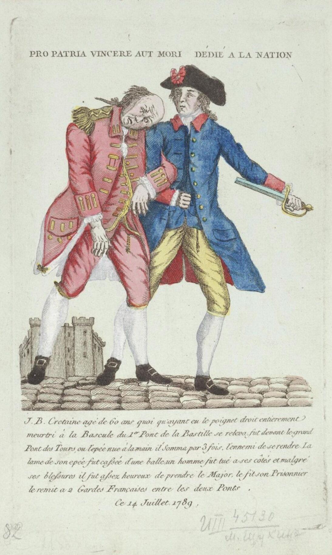 Неизвестный гравер Герой взятия Бастилии Жан Батист Кретен и плененный им защитник Бастилии майор де Лоне-Сальбрэ 1789 Бумага; офорт, акварель