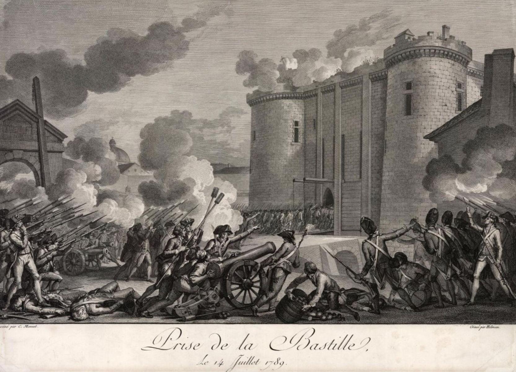 Исидор Станислас Эльман (1743–1806/1809) по оригиналу Шарля Монне (1732 – после 1808) Взятие Бастилии 14 июля 1789 года 1795–1796 Бумага; офорт, резец