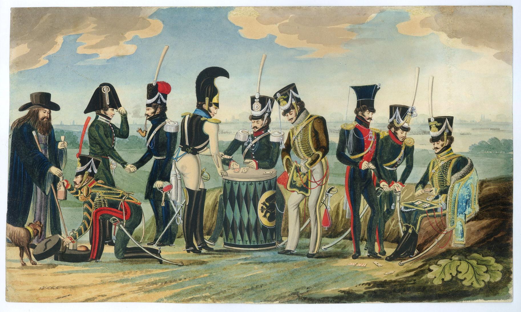 Краузе К.Ф. Сцена из военно-походной жизни 1812-1814 гг. Первая четверть XIX в. Бумага, акварель