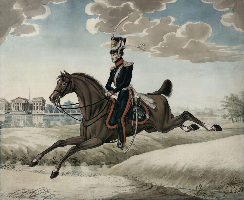 Краузе К.Ф. Обер-офицер Дворянского кавалерийского эскадрона Дворянского полка. 1817-1818 гг. Бумага, акварель