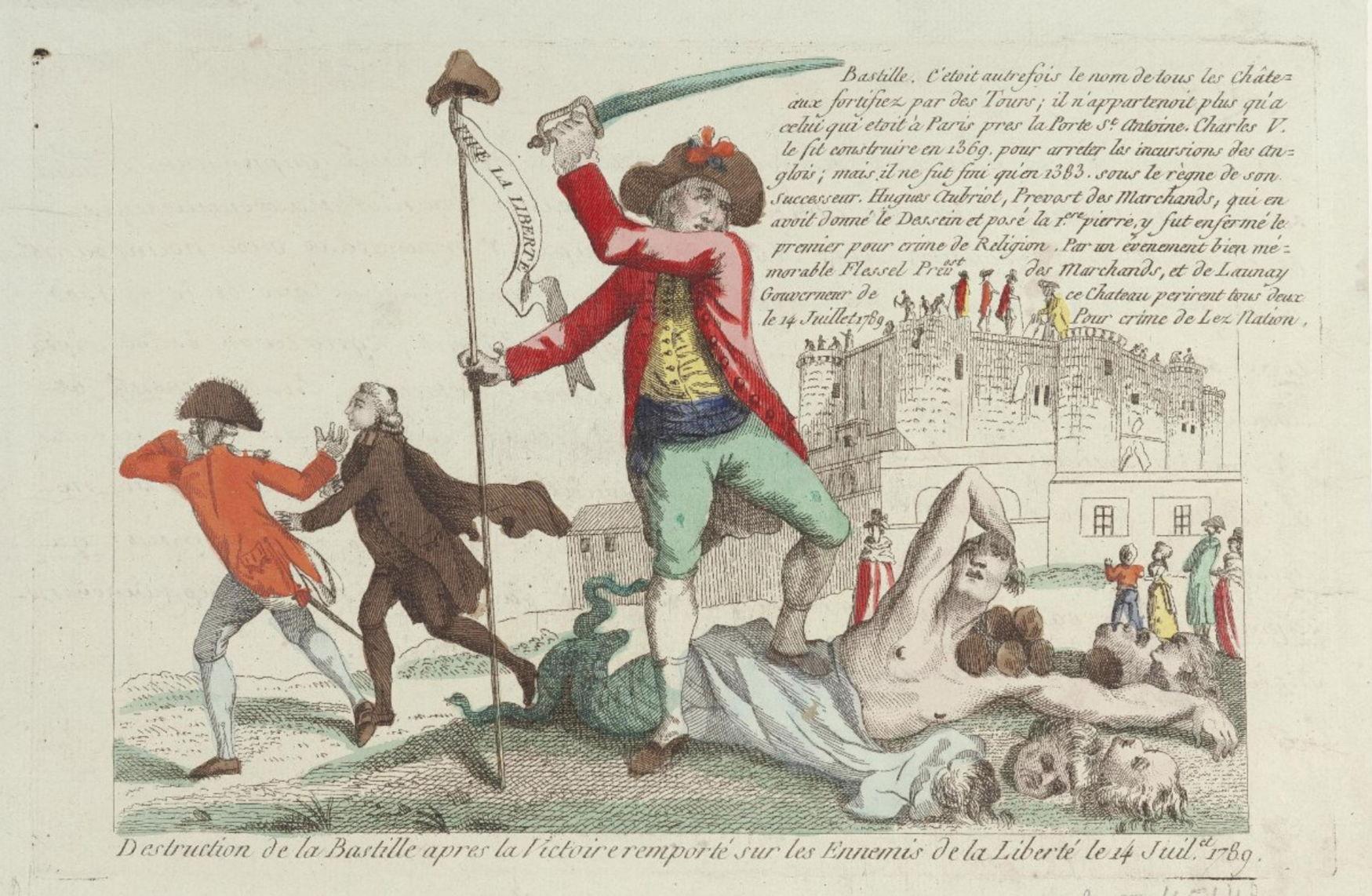 Неизвестный гравер Уничтожение Бастилии после победы над врагами свободы 14 июля 1789 года 1789 Бумага; офорт, акварель