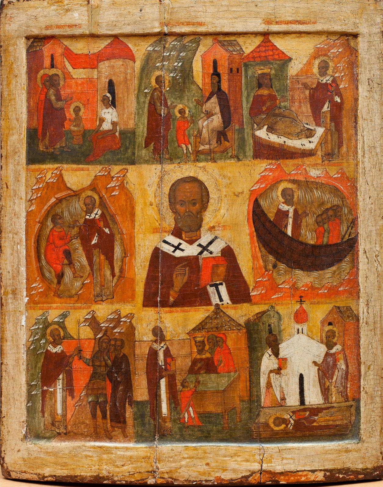 Икона «Никола Великорецкий с клеймами жития». Вторая половина XVI в. Ризница Покровского собора.