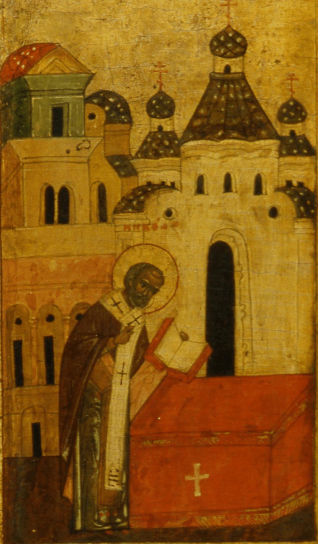 «Служба святого Николая». Клеймо иконы из южного подцерковья Покровского собора.