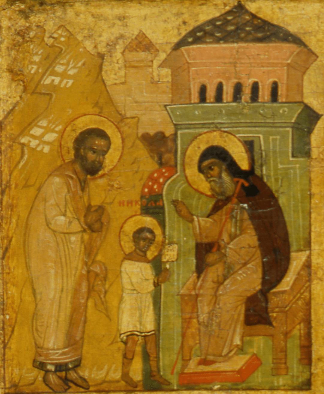 «Приведение во учение». Клеймо иконы из южного подцерковья Покровского собора.