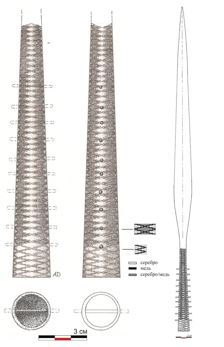 Плеть из Большого Тимерева. Реконструкция узора и общего вида копья.