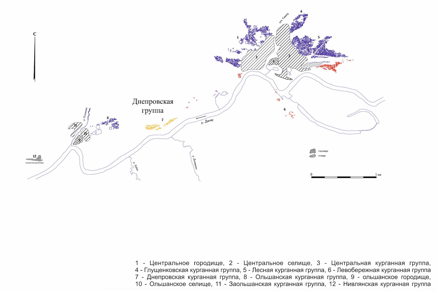 Схема Гнездовского археологического комплекса.