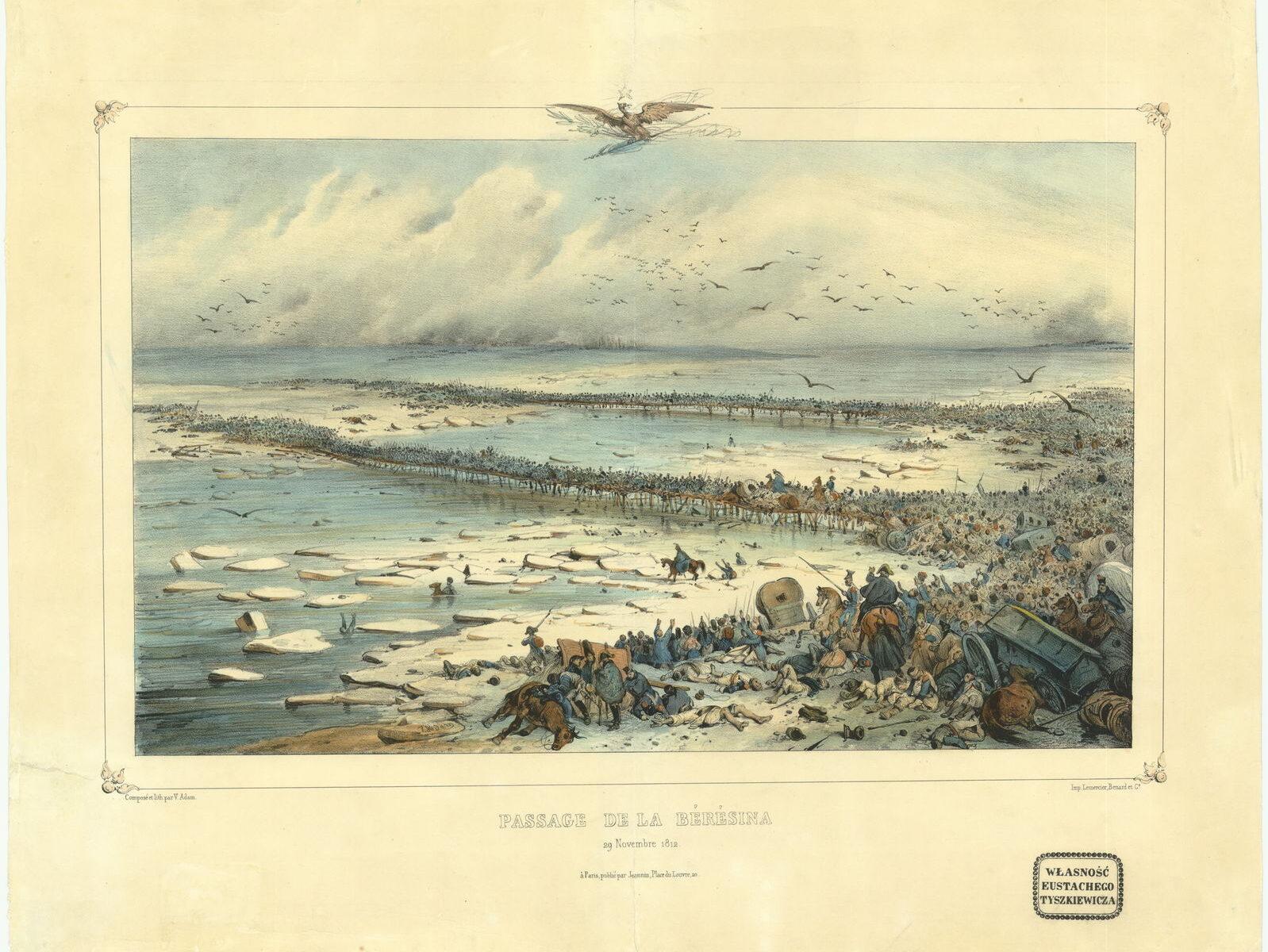 Переход через Березину 29 ноября 1812 года Автолитография В. Адама, первая половина XIX в.