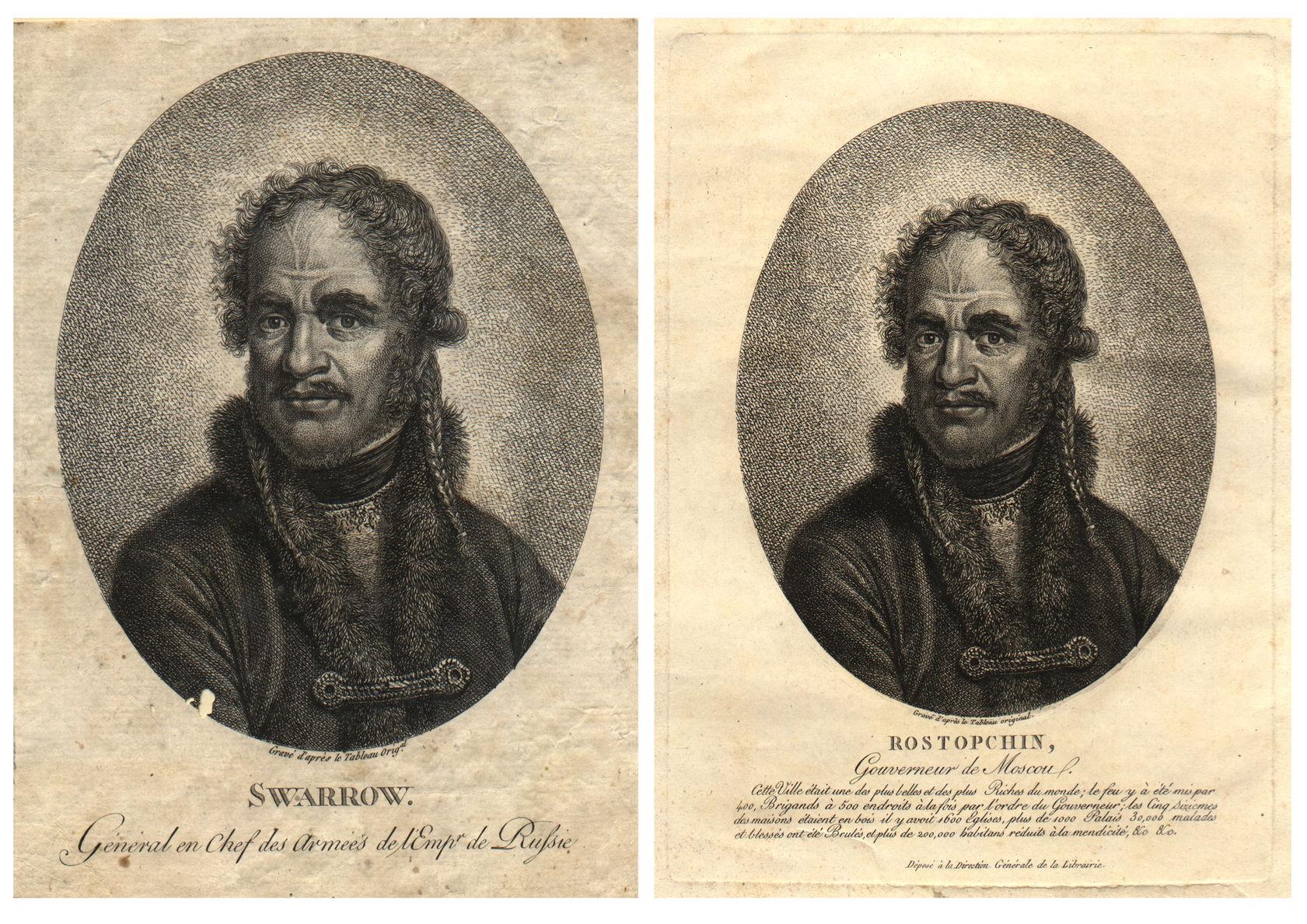 Суворов (Растопчин) Гравюра неизвестного художника, 1810-е / Портрет Ф.В. Ростопчина Гравюра неизвестного художника, 1810-е