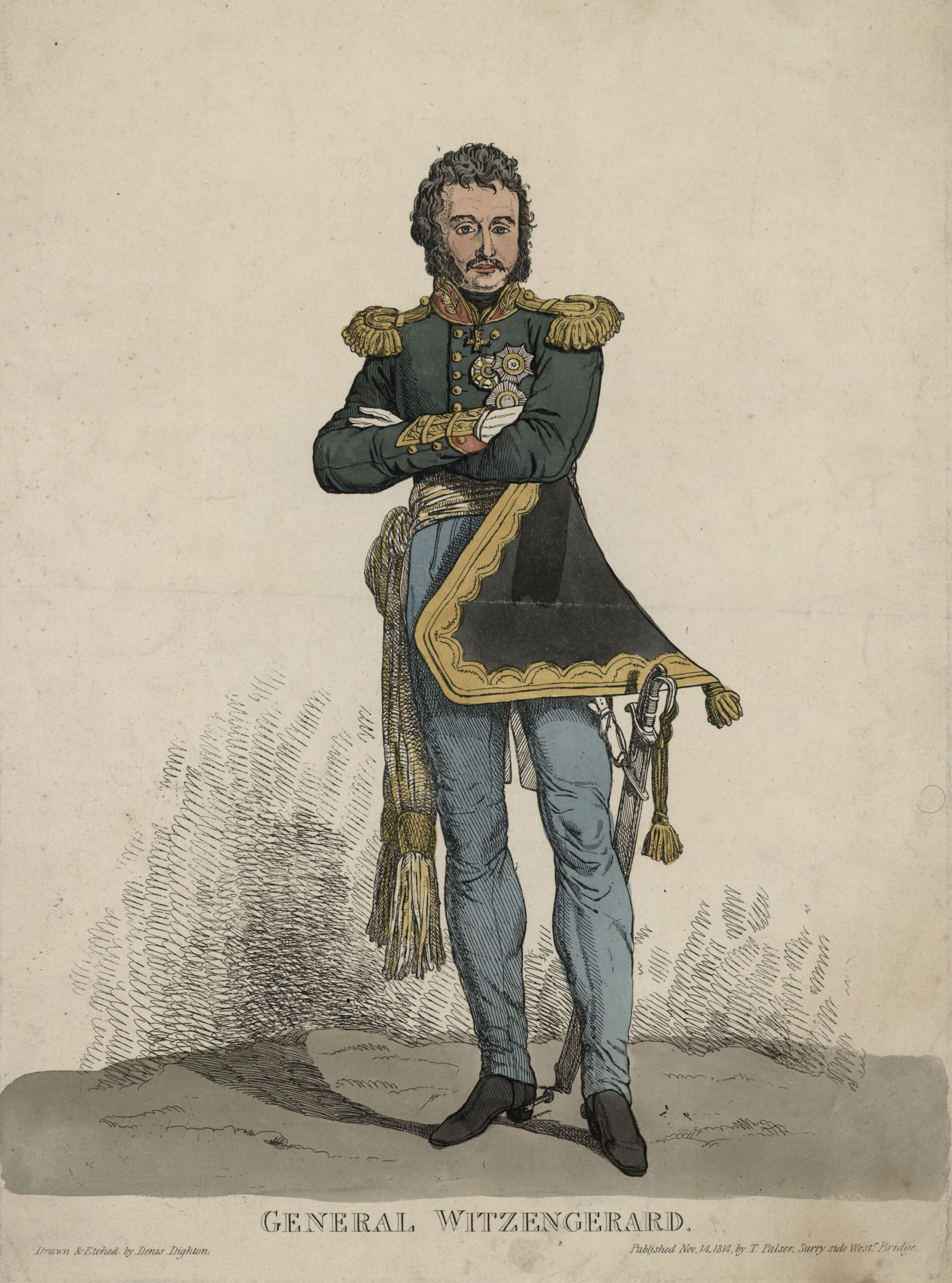 Портрет Ф.Ф. Винцингероде Гравюра Д. Дайтона, 1814