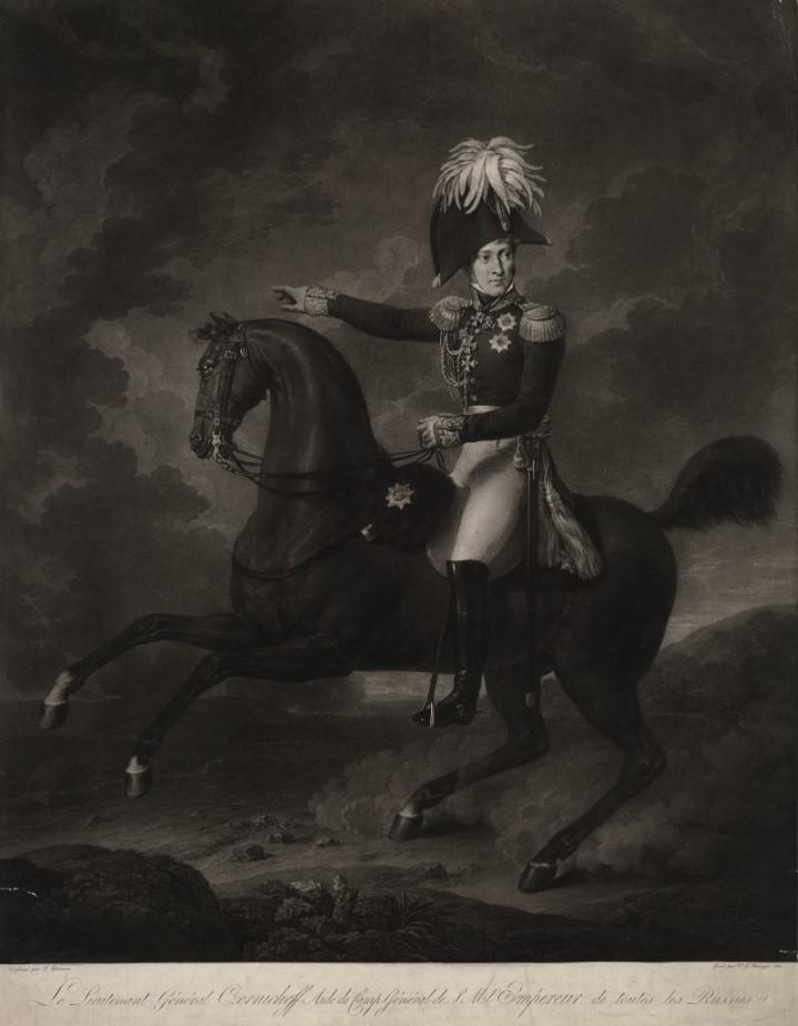 Портрет Чернышева Александра Ивановича Гравюра Г. Кинингера по оригиналу Л. Летрона, 1815