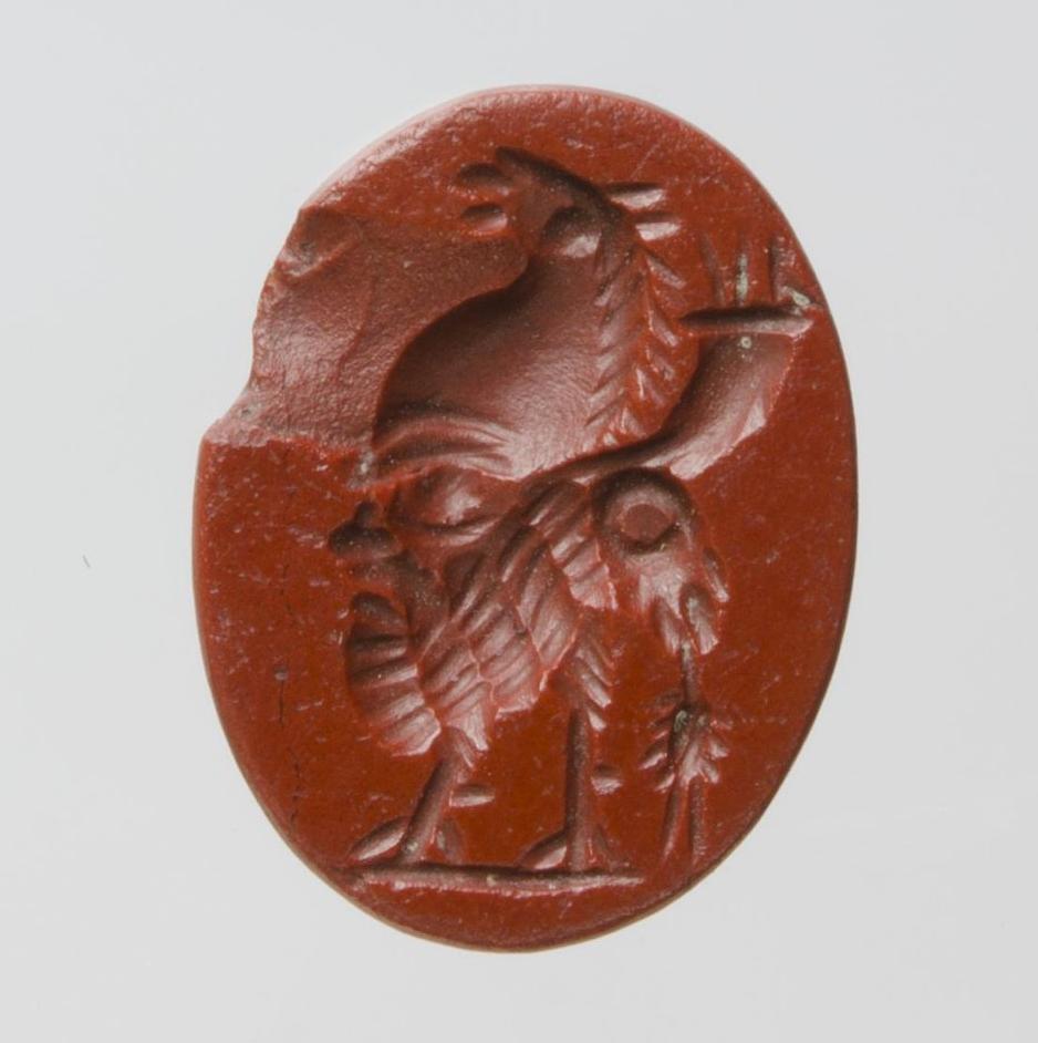 Гемма гностическая: фигура грифона—петуха, составленная из различных изображений. I—III вв. н.э. Ольвия, яшма