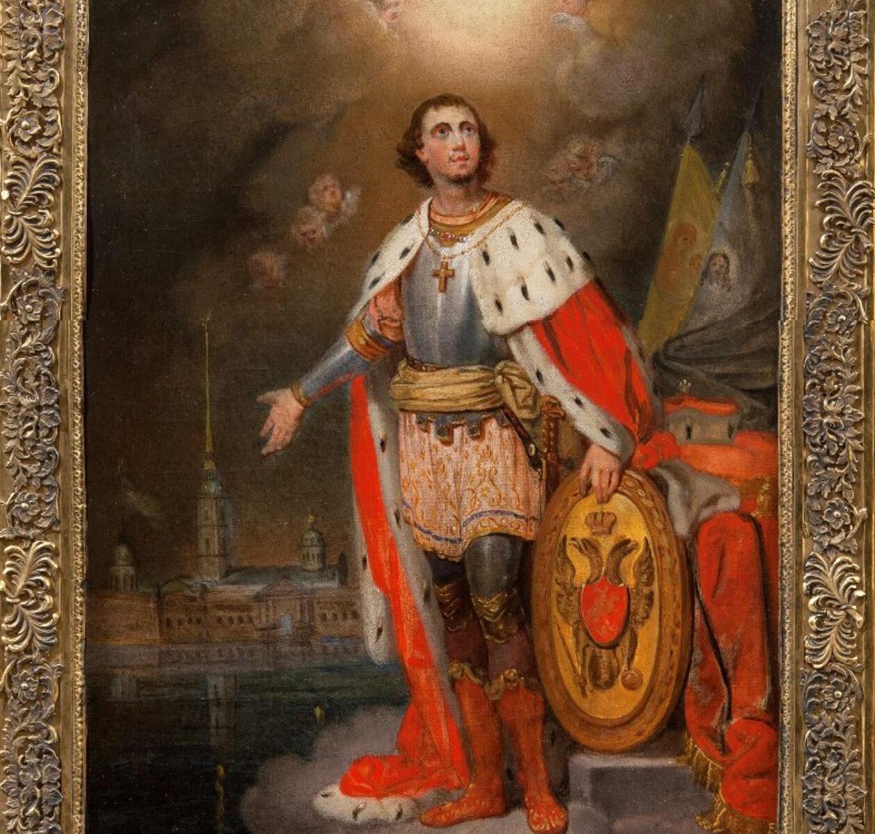 Икона «Благоверный князь Александр Невский» Холст, грунт, масло Начало 1840-х гг.