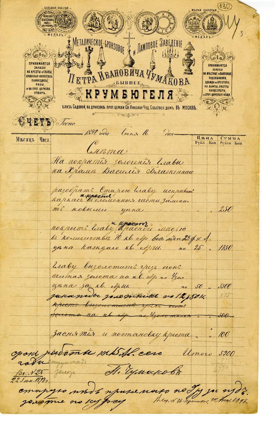 Смета П.И. Чумакова. 1898 г. Архив отдела «Покровский собор»