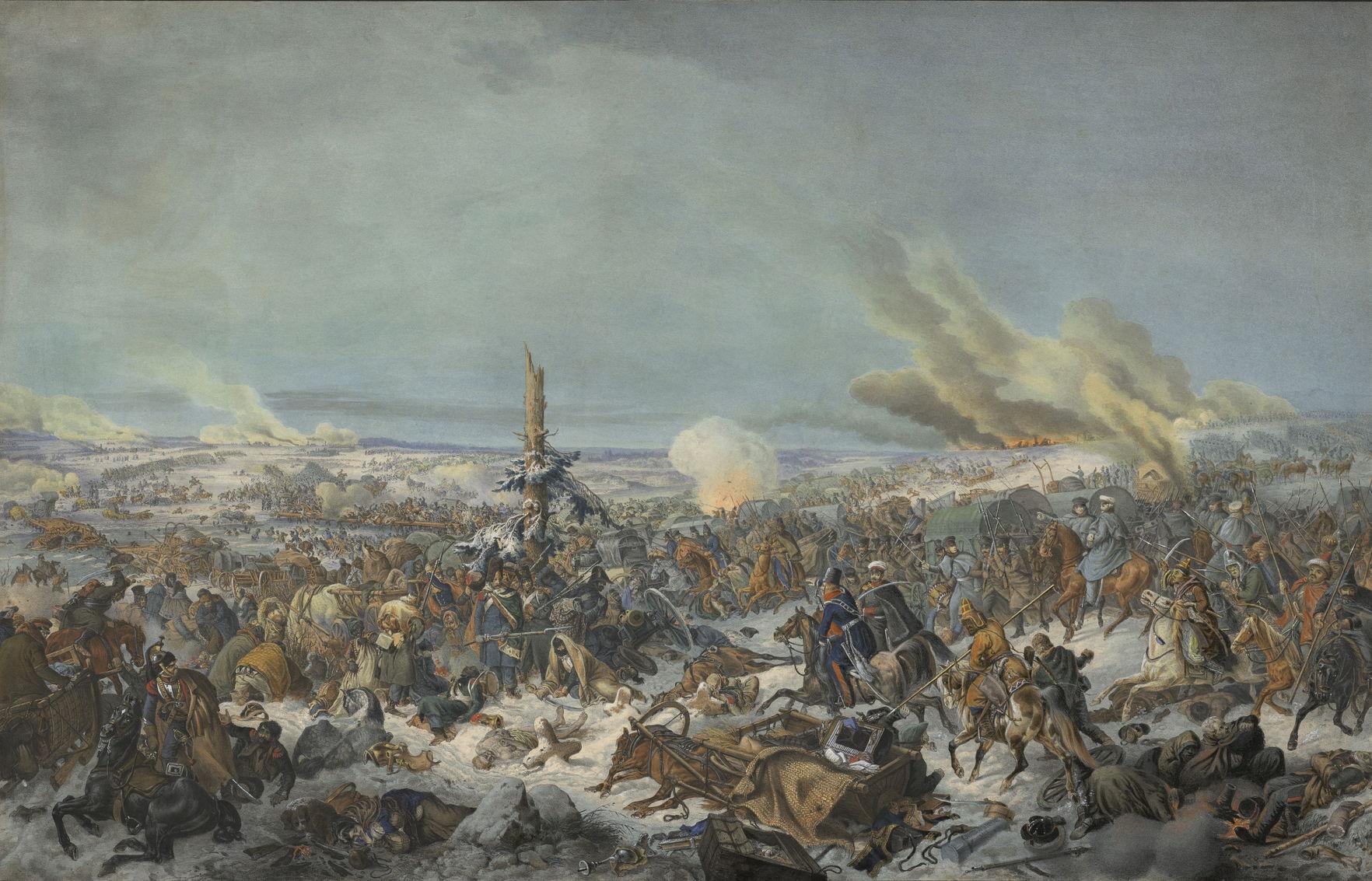 Сражение при Березине Литография с живописного оригинала Петера Гесса 1839 г.