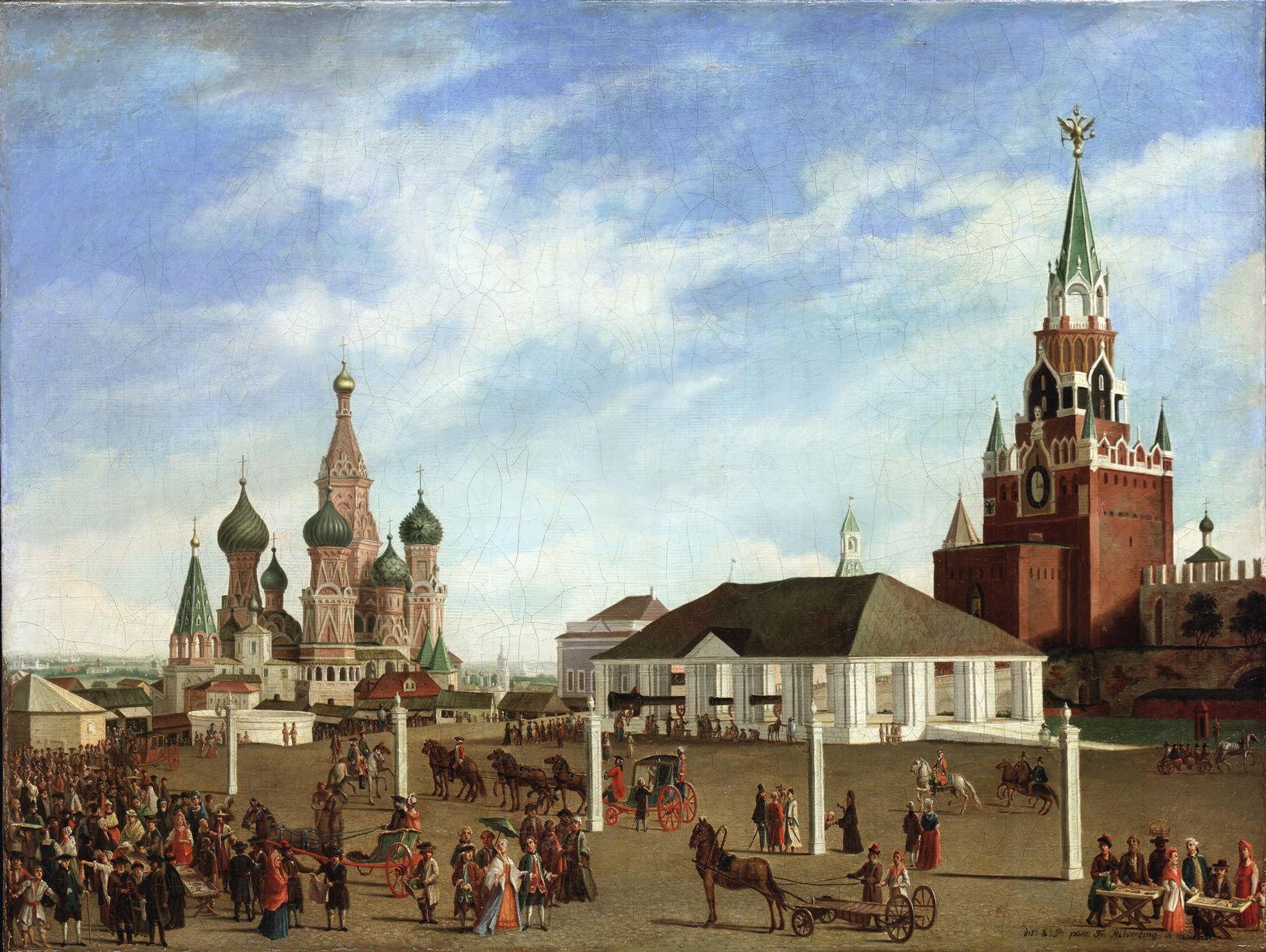 Гильфердинг Фр. Вид Красной площади в сторону Покровского собора. 1780-е годы