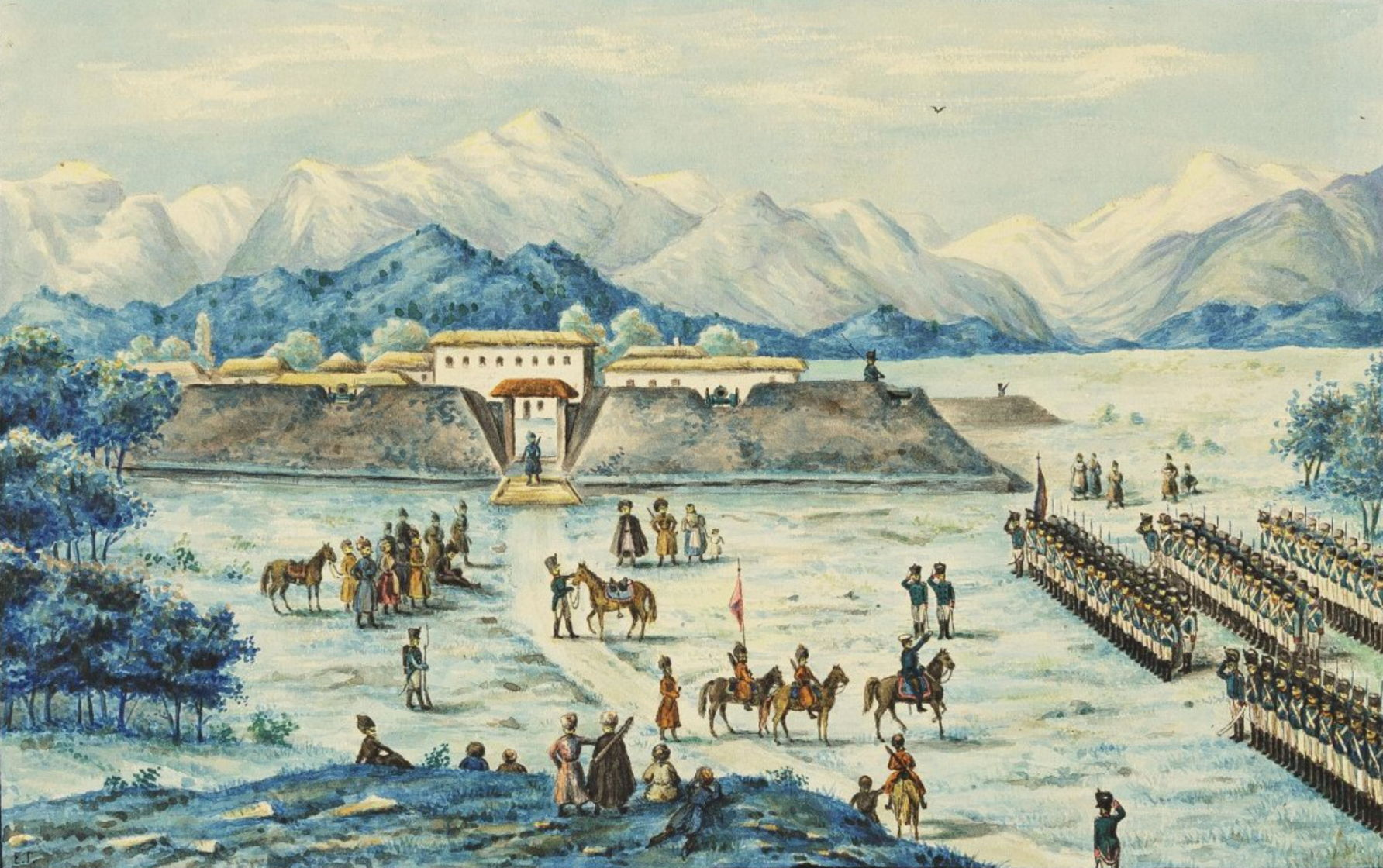 «Прибытие Тенгинского полка на Кавказ 30 августа 1819 года». На обороте - «Тенгинец 1819 года»
