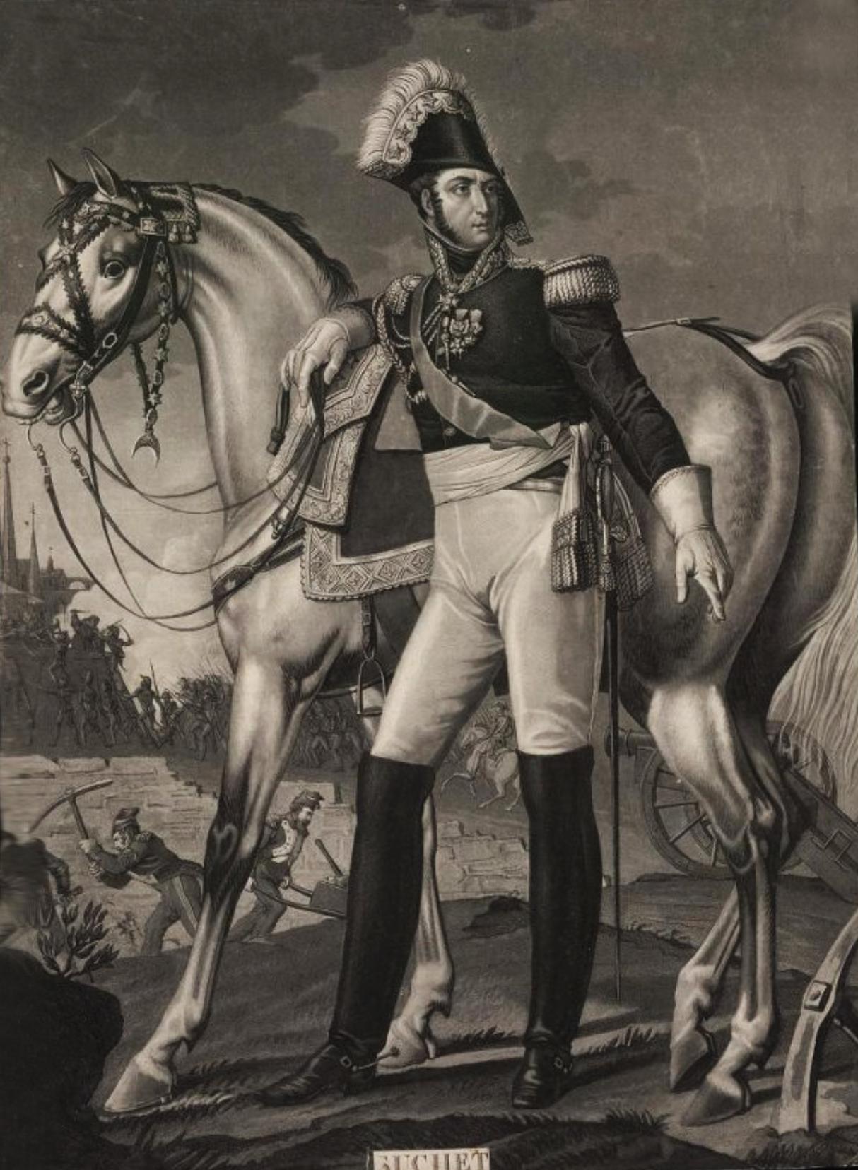 Портрет маршала Л.-Г. Сюше Гравюра Л.Ф. Шарона по оригиналу Л.Ф. Обри, 1820