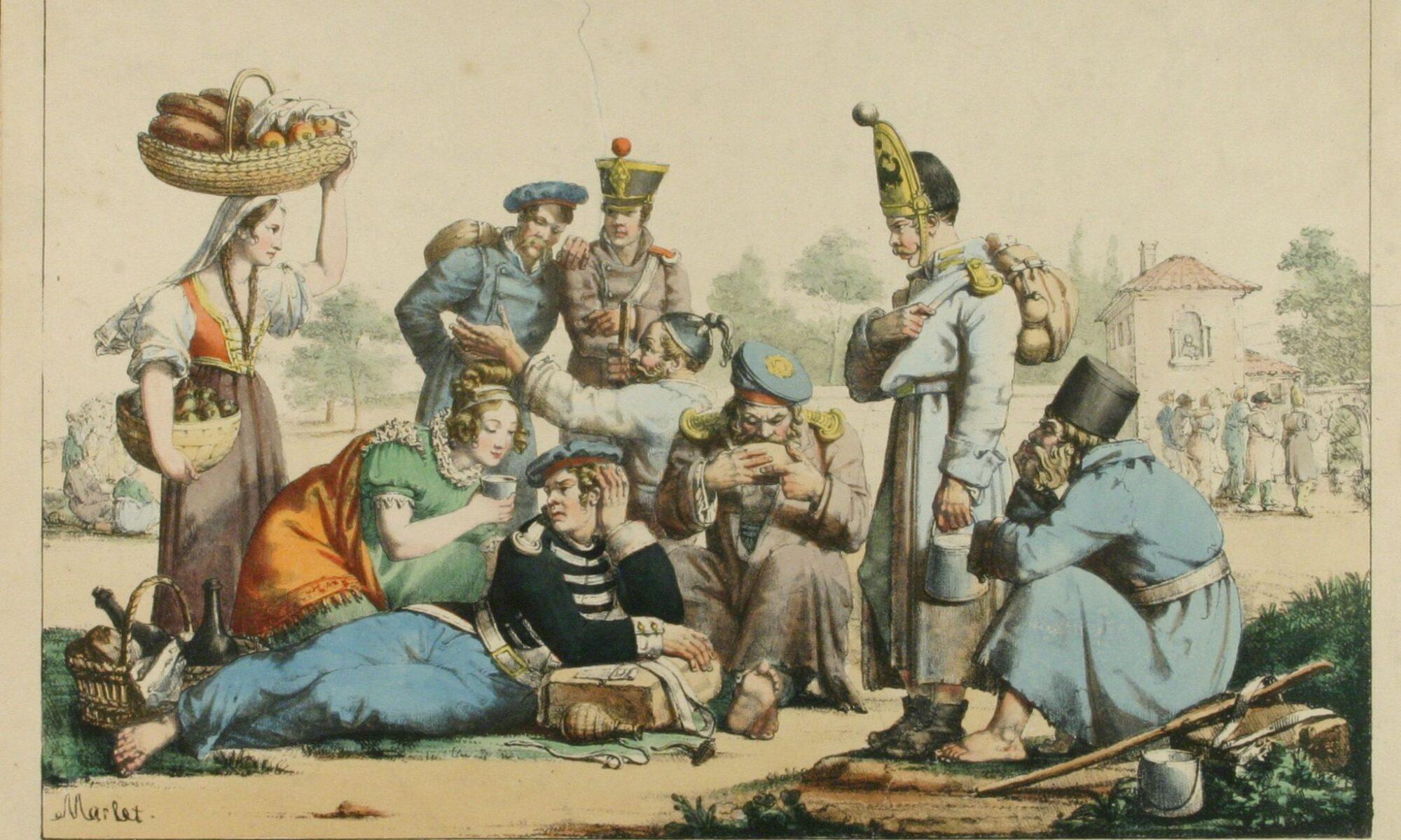Русские и австрийские пленные во Франции в 1814 г. Литография Марле, 1814 г.