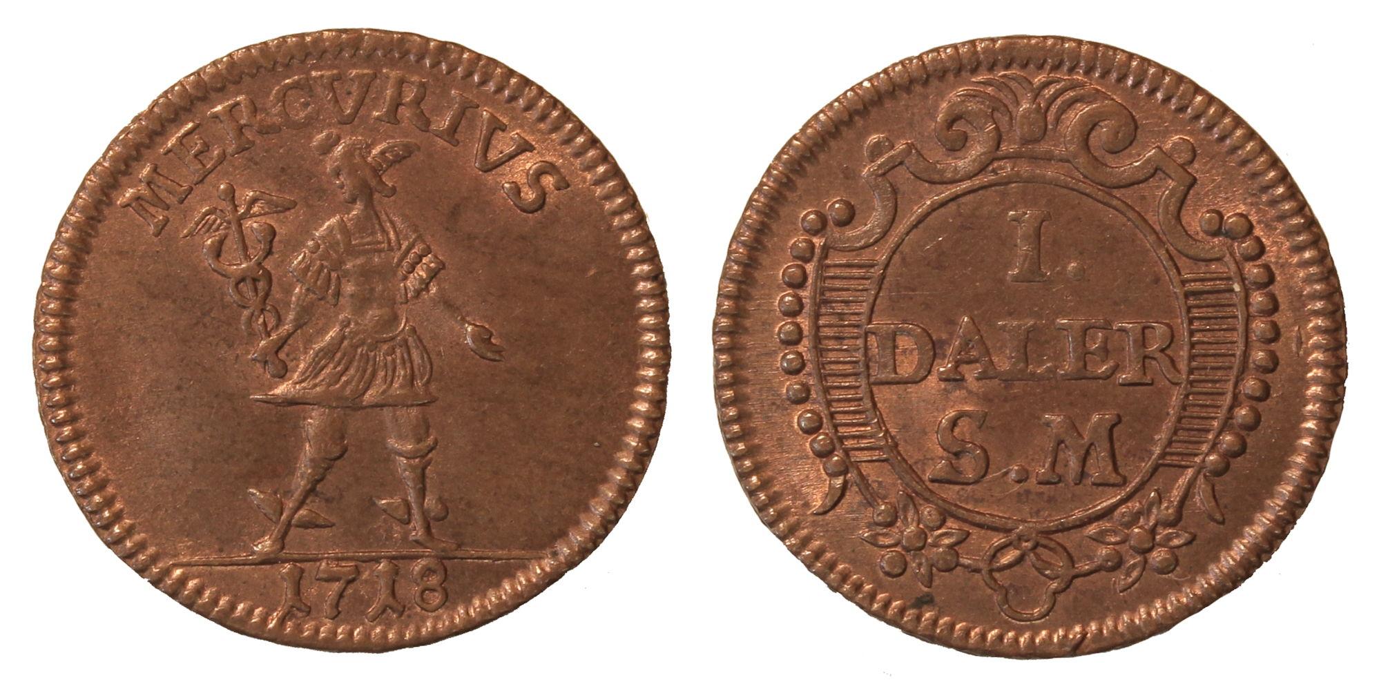 Швеция. КарлХII (1698–1718). 1 далер 1718г.