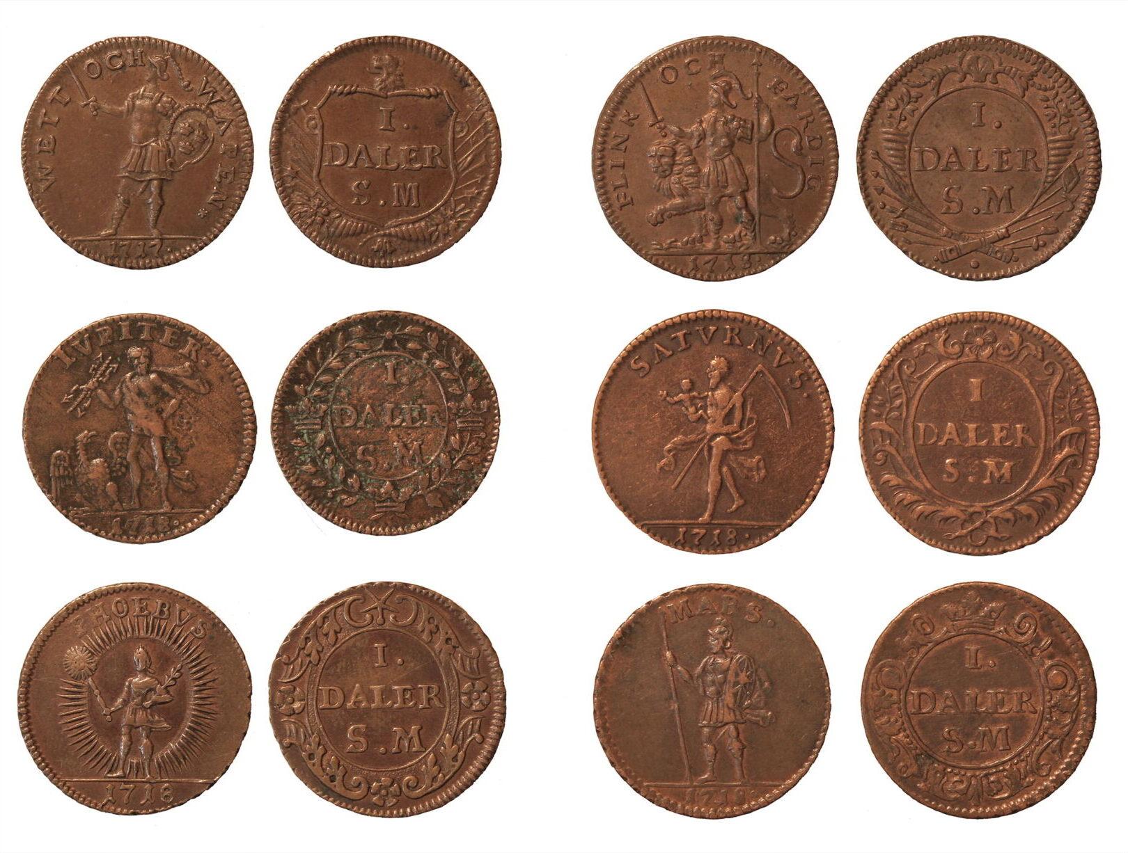 Швеция. КарлХII (1698–1718). Нотдалеры 1717–1718гг.