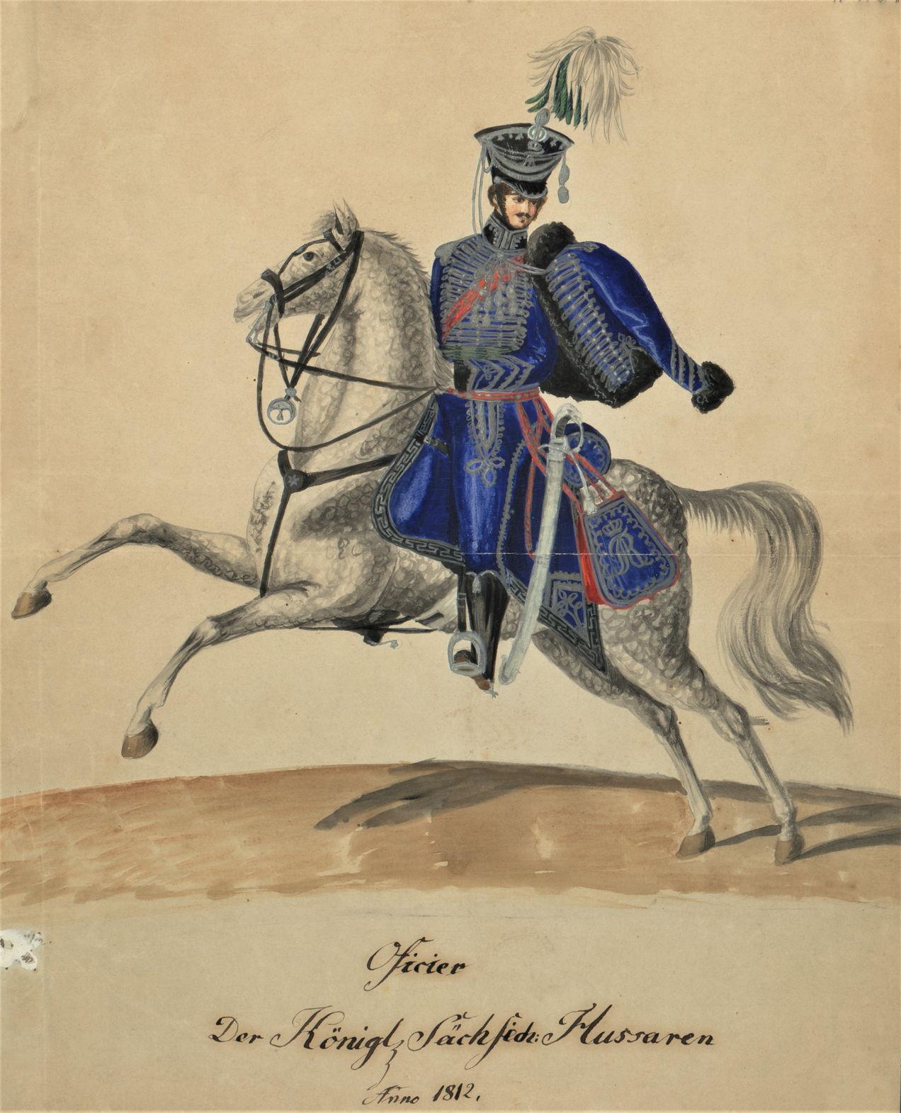 Офицер-гусар саксонской армии в 1812 году Копия с гравюры Вольфа и Югеля 1815 г. Около 1911 г. Бумага, акварель Публикуется впервые