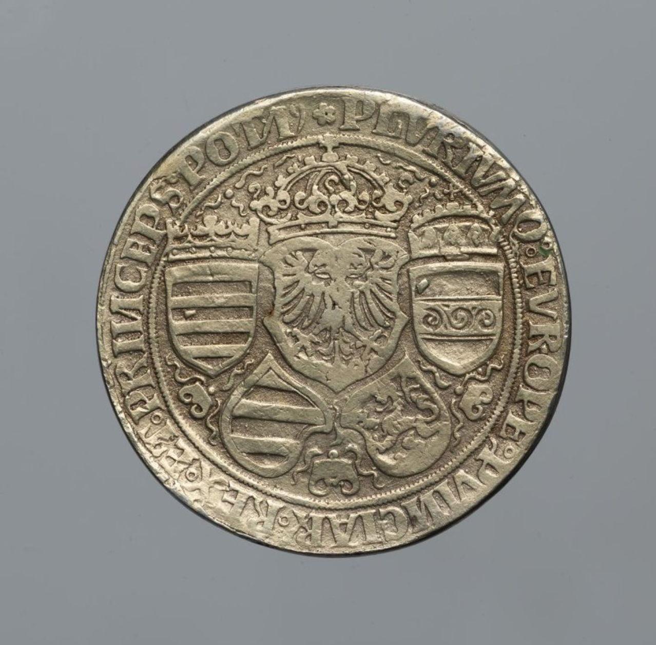 Священная Римская империя. МаксимилианI (1477–1519, император с 1508). Гульдинер без даты. Серебро, чеканка