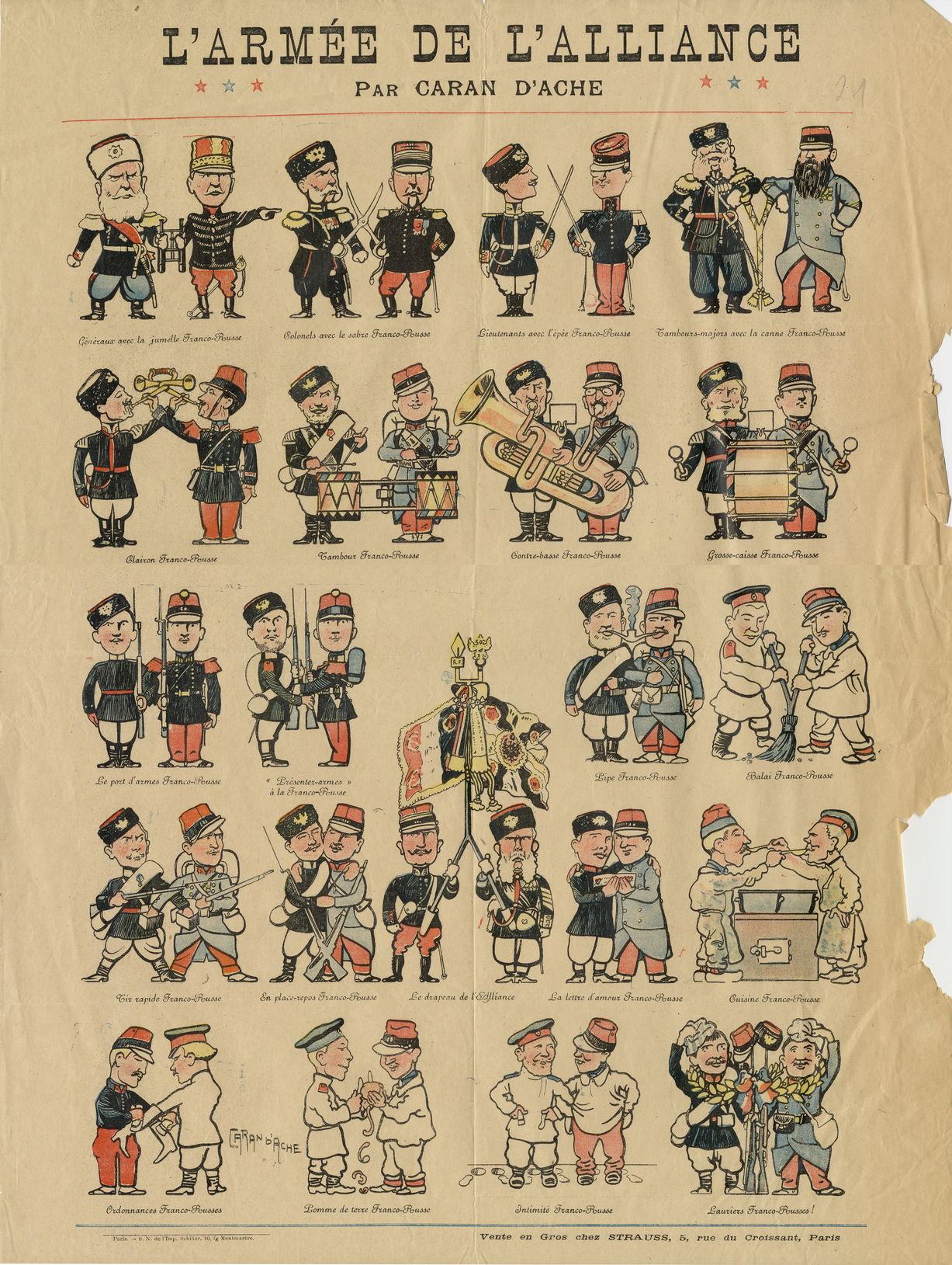 Армия союзников. Карикатура на франко-русский союз. 1890-е