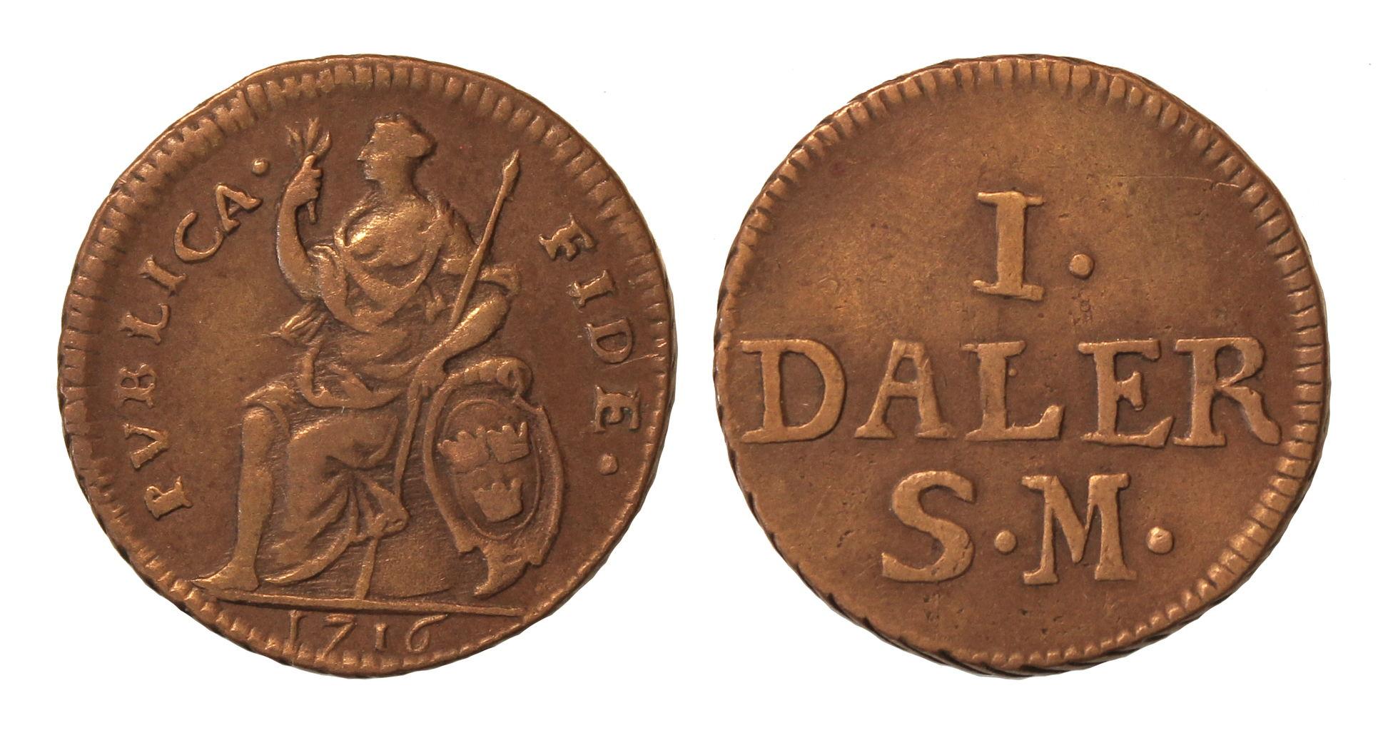 Швеция. КарлХII (1698–1718). 1 далер 1716г.