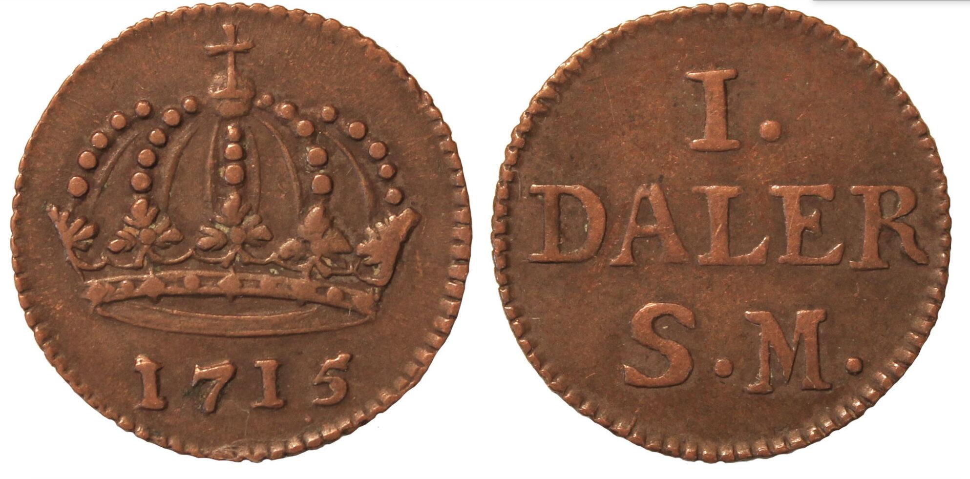 Швеция. КарлХII (1698–1718). 1 далер 1715г.