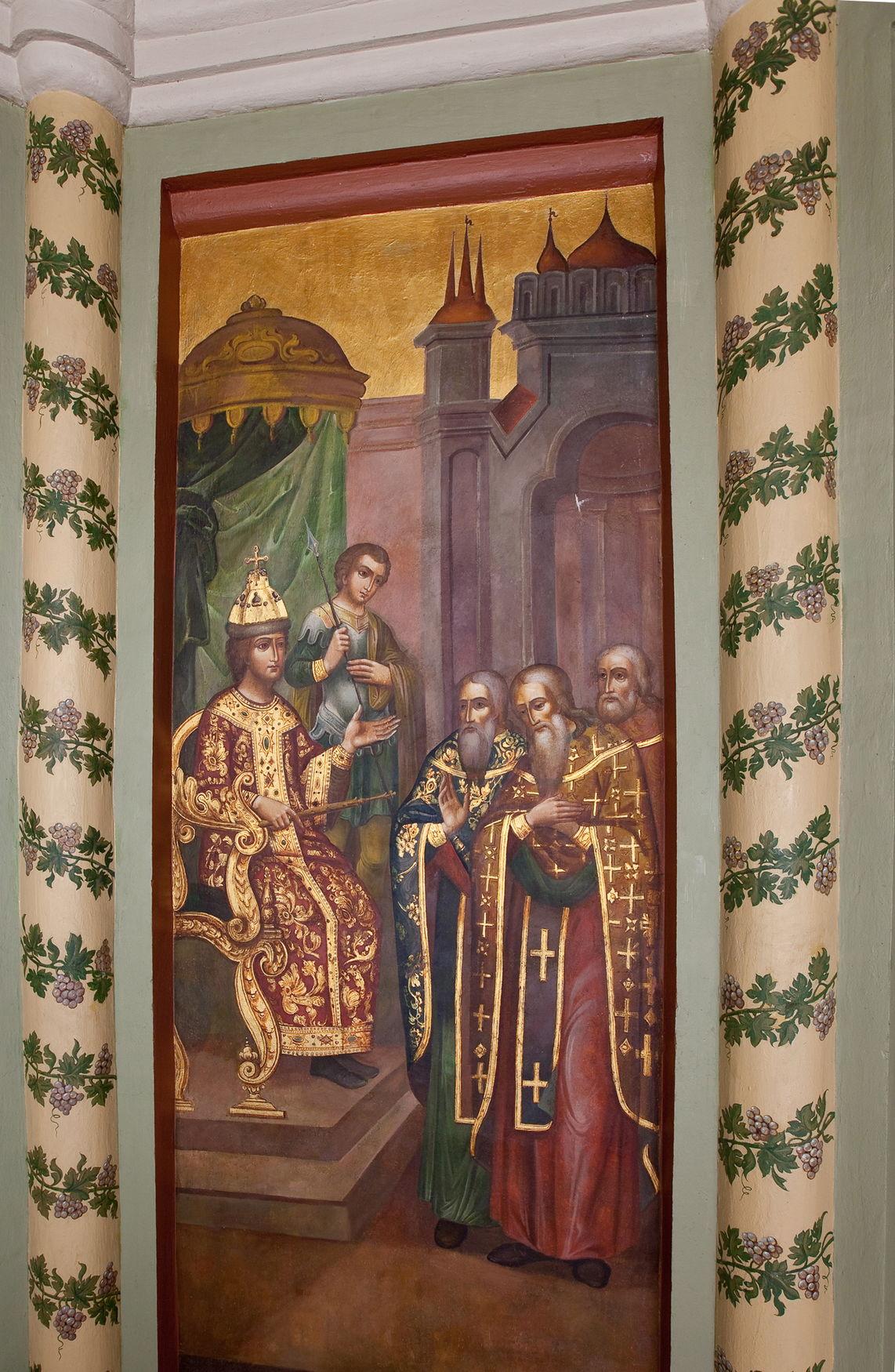 Приход священников с Вятки в Москву к царю Ивану Васильевичу. Настенная роспись церкви
