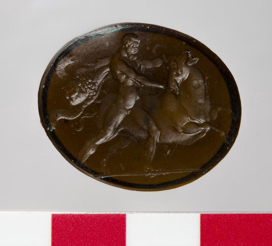 Гемма с изображением: Геракл с быком, в профиль вправо. Конец XVIII в.