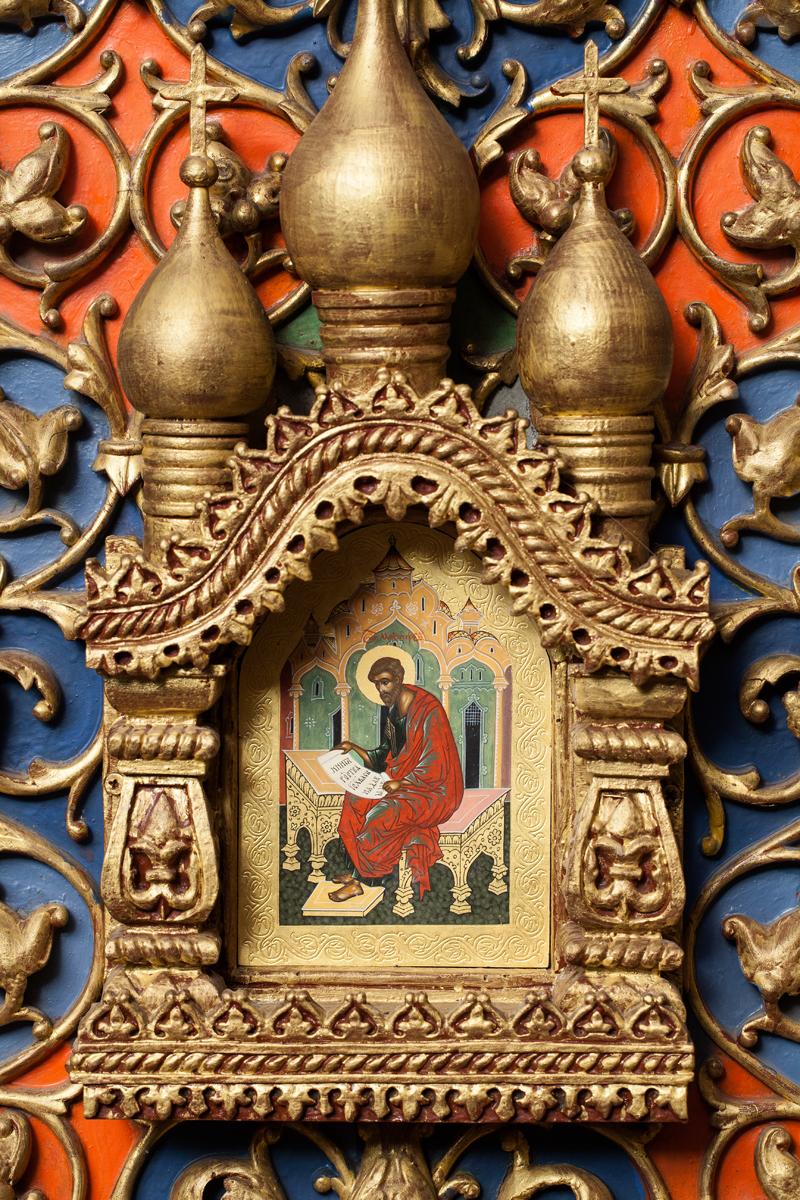 Апостол Матфей. Царские врата иконостаса в церкви Василия Блаженного Покровского собора. 2013 г.