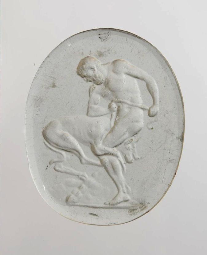 Гемма с изображением: Геракл, сжимающий коленями головы Цербера. Конец XVIII в.