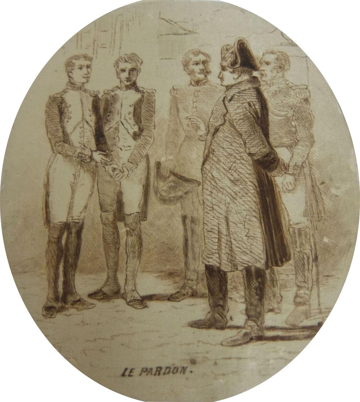 """Неизвестный художник. """"Le Pardon"""" Франция, начало XX в.(?) Шелк на картоне, перо Дар барона де Бая. Публикуется впервые"""