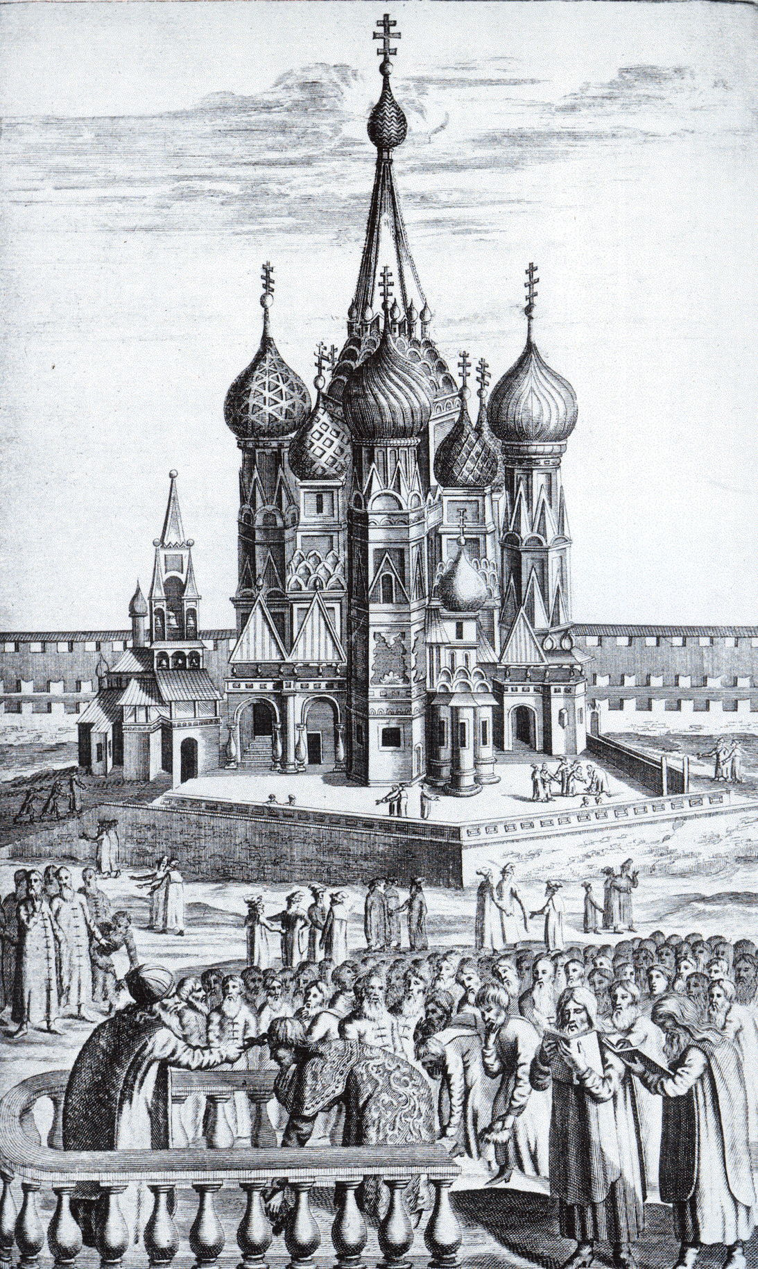Покровский собор на гравюре из книги Адама Олеария