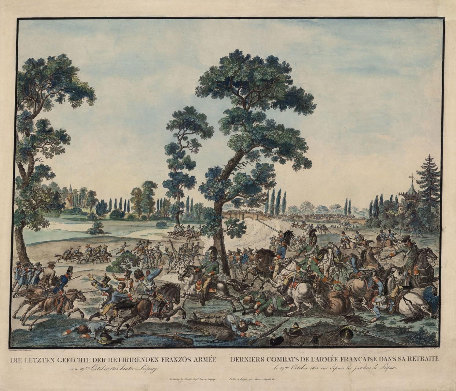 К. Фрош по рисунку Ф. Лемана Последние сражения французской армии 19 октября 1813 года в садах Лейпцига. Около 1820 г.
