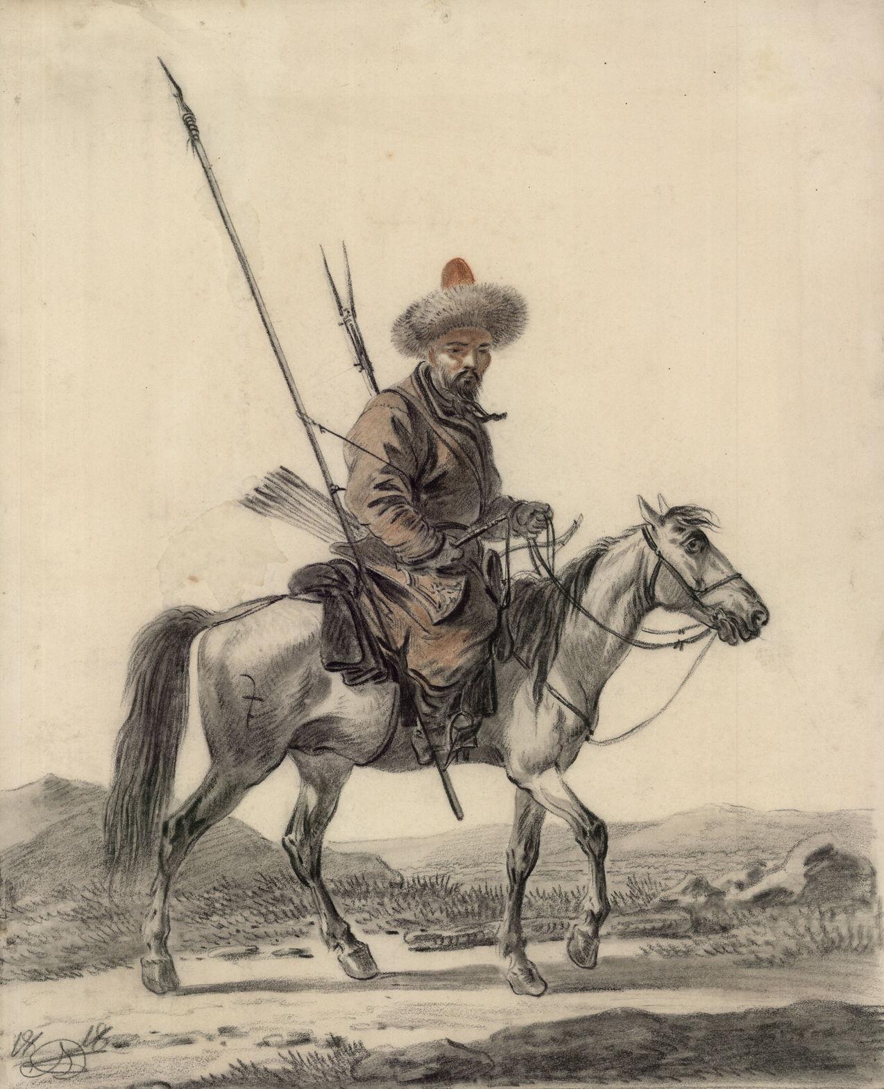 Орловский А.И. Башкир верхом. 1818 г. Бумага на картоне, итальянский карандаш, сангина