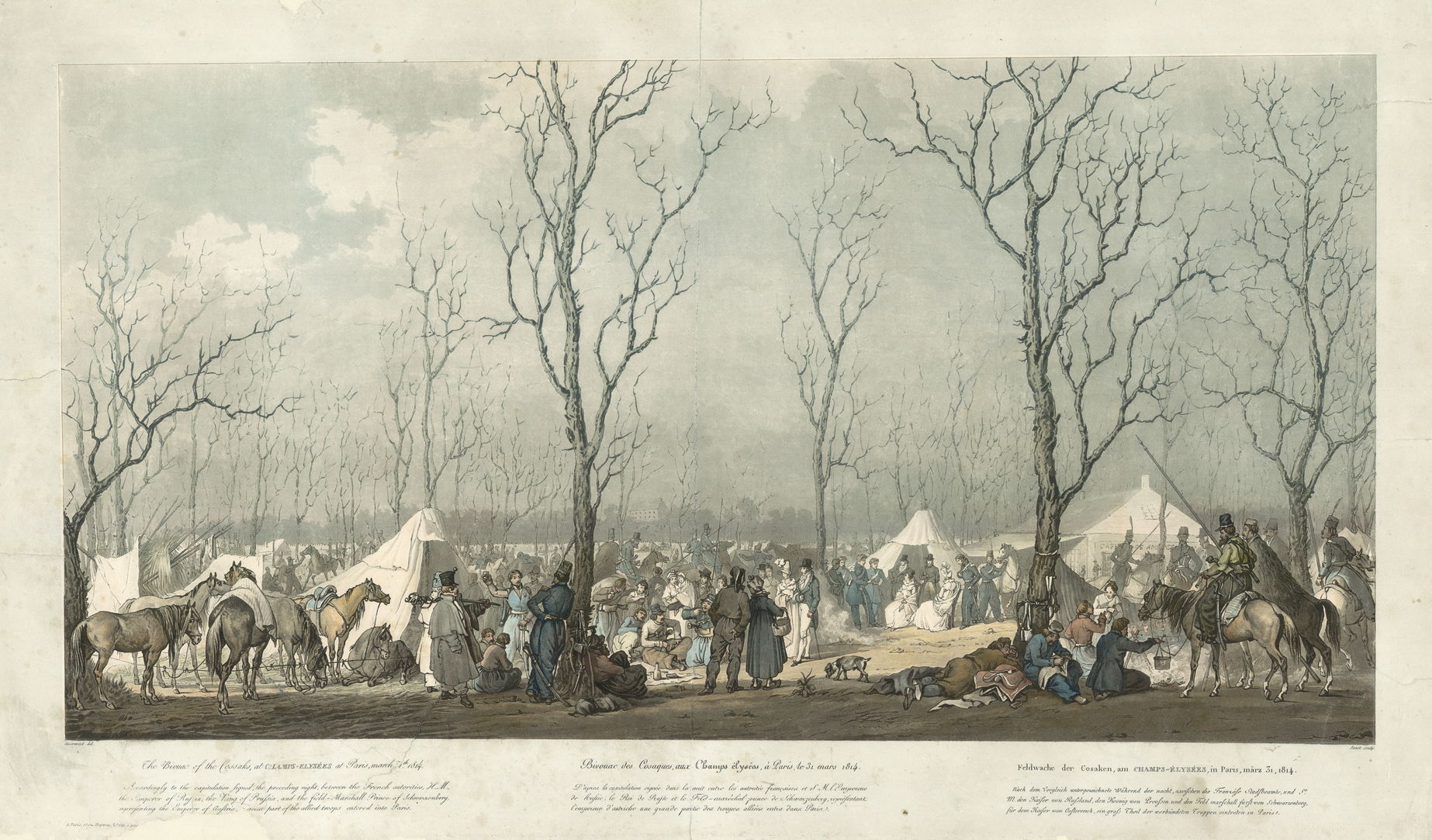 ГравюраЖ.П. Жазе по рисунку А.И. Зауервейда Бивуак казаков на Елисейских полях в Париже 31 марта 1814 года, 1810-е гг.