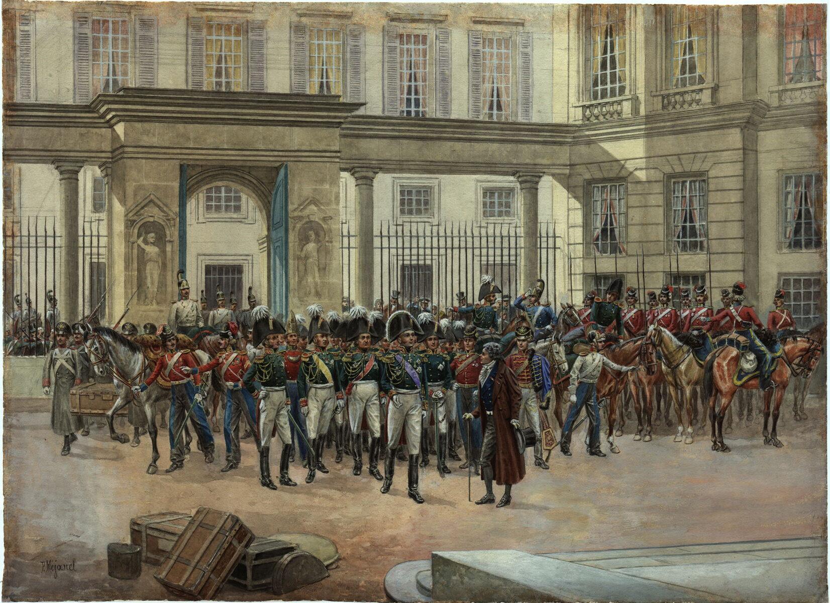 Пьер Межанель Император Александр I в Париже, конец XIX в. Бумага, акварель, белила