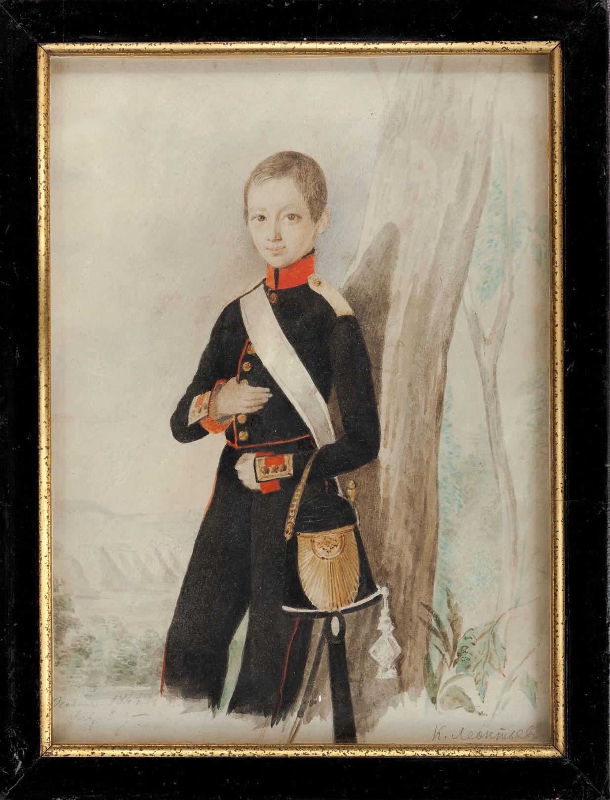 Константин Семенович Осокин Портрет К.Н. Леонтьева в форме кадета Дворянского полка.1844 г. Бумага, акварель