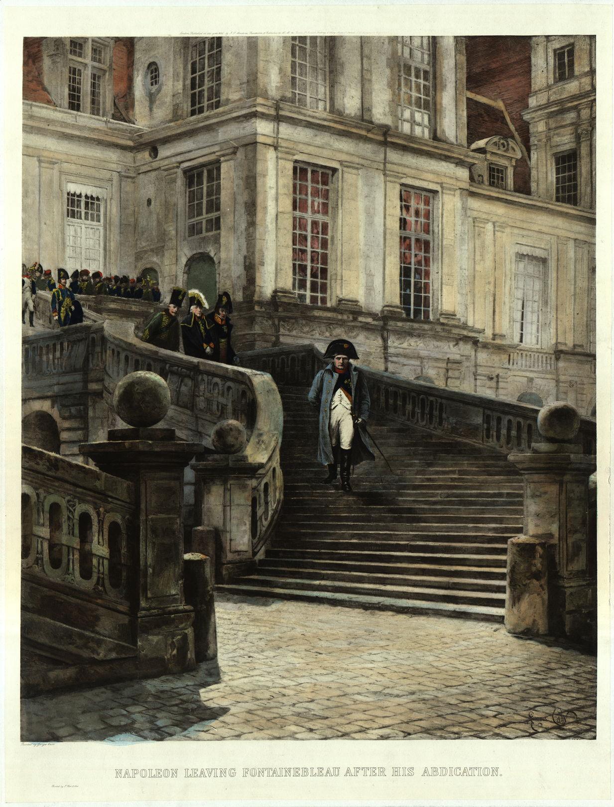 Литография Ж. Кэна Наполеон, покидающий Фонтенбло,1895