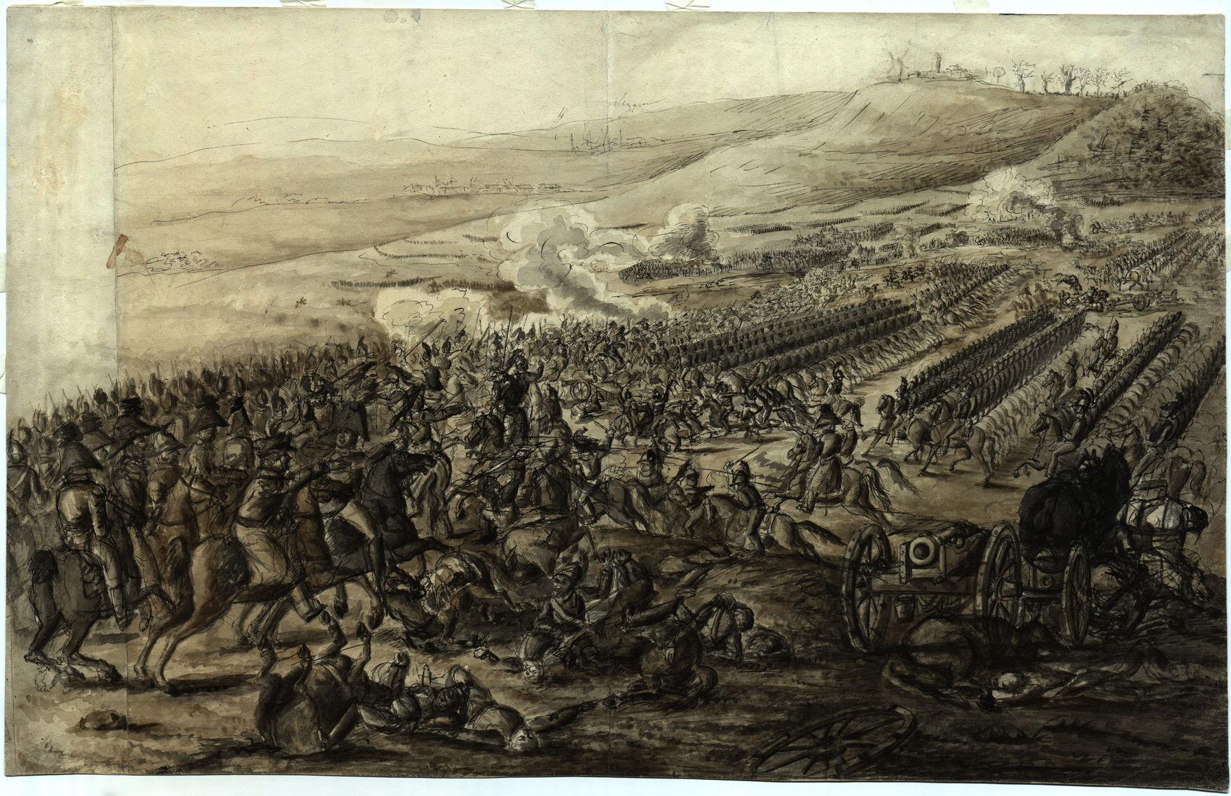 Неизвестный художник Кавалерийская атака. Эпизод сражения при Фер-Шампенуазе в 1813 году, 1816-1818 гг. Бумага, тушь, сепия, кисть, перо
