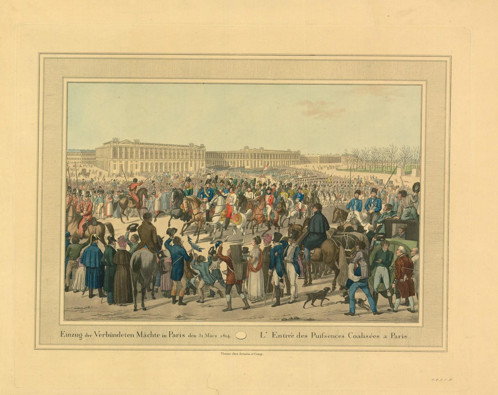 Гравюра К. Раля по рисунку И. Клейна Вступление союзников в Париж 31 марта 1814 г., 1815