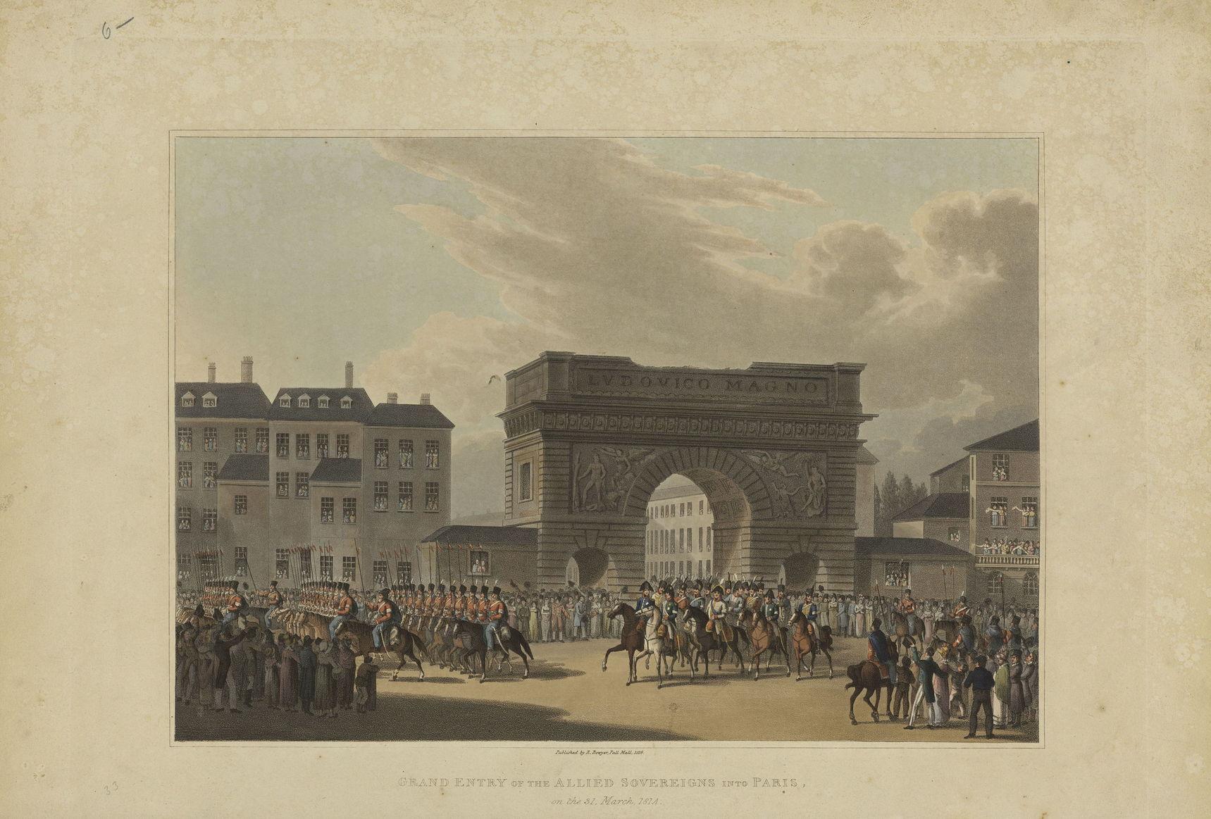 Гравюра Р. Боуера Великое вступлении союзных войск в Париж 31 марта 1814 г., 1816