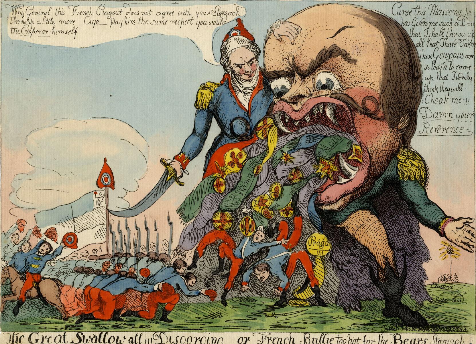 Джон Коуз Карикатура на А.В. Суворова. «The great Swallow all!!! Disgorging or French bullie too hot for the bears stomach». 1799 г. Бумага верже, офорт, акварель
