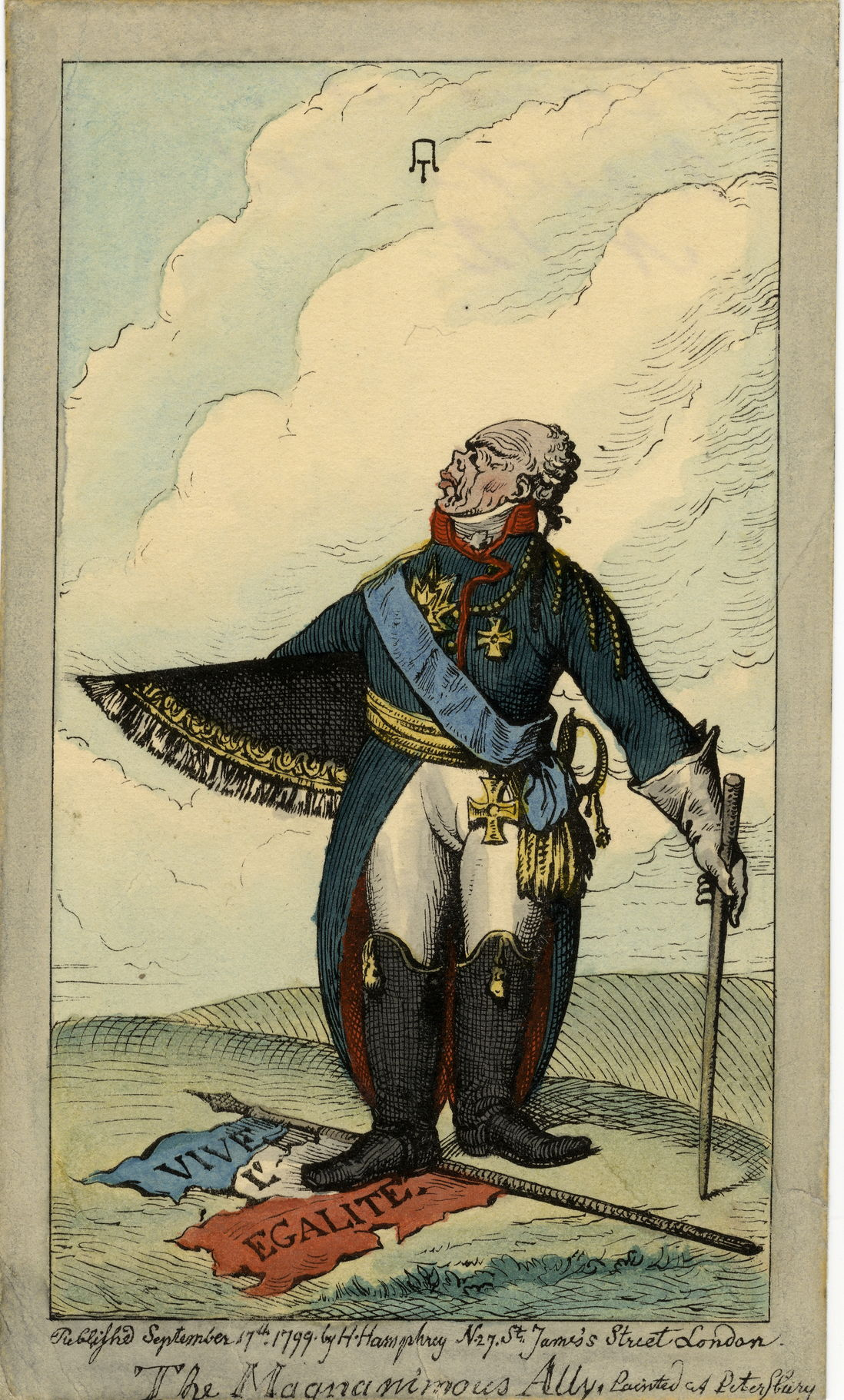 Джеймс Гилрей Карикатура на императора Павла I. Великодушный союзник. 1799 г. Бумага, офорт раскрашенный