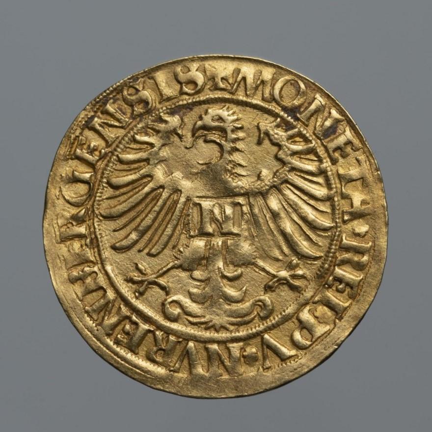 Монета. Священная Римская империя, город Нюрнберг. Гольдгульден 1526 г. Золото, чеканка
