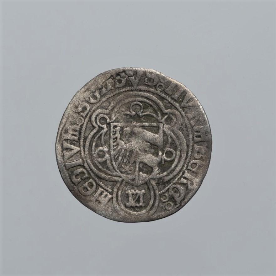 Монета. Священная Римская империя, город Нюрнберг. ½ шиллинга конца XVв. Серебро, чеканка